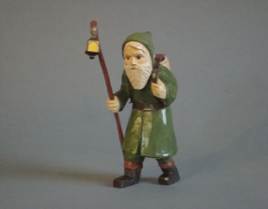 Green Father Christmas with Lantern